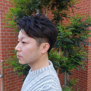 メンズヘア くせ毛 2ブロック